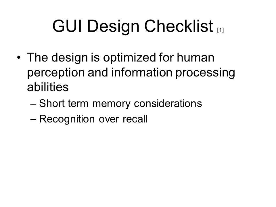 GUI Design Checklist [1]
